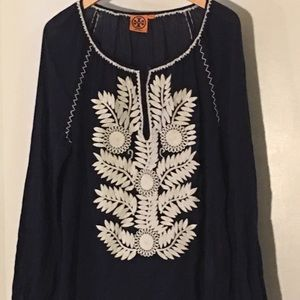Embroidered Tory Burch Peasant Blouse - M